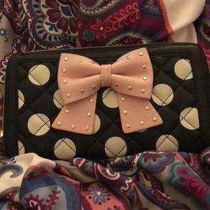 Lightly used betsey johnson bow polka dot wallet